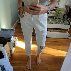 Urban outfitters white ripped boyfriend jeans